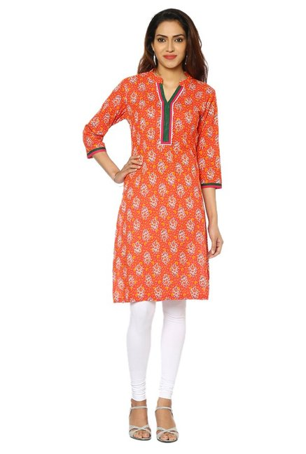 Soch Pink & Orange Floral Print Cotton Kurta