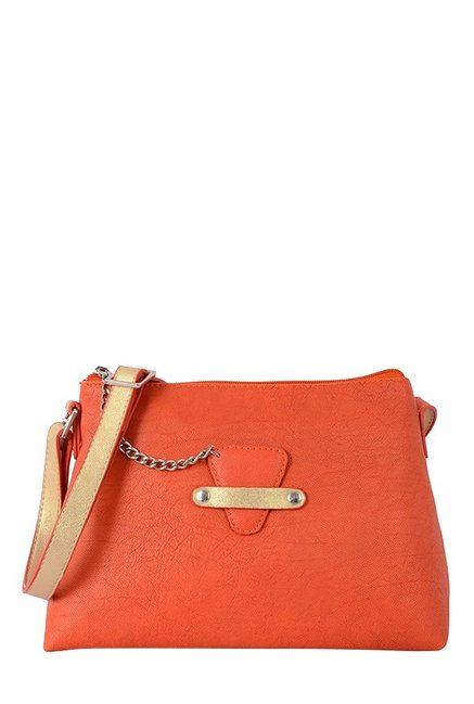 Baggit Adriana Orange Solid Sling Bag