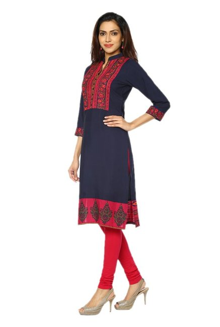 Soch Navy Printed Synthetic Kurta