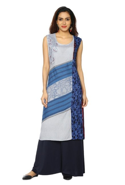 Soch Grey & Blue Printed Cotton Kurta