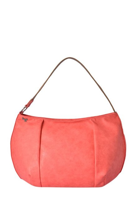 Baggit Pisco Coral Pink Distressed Hobo Bag