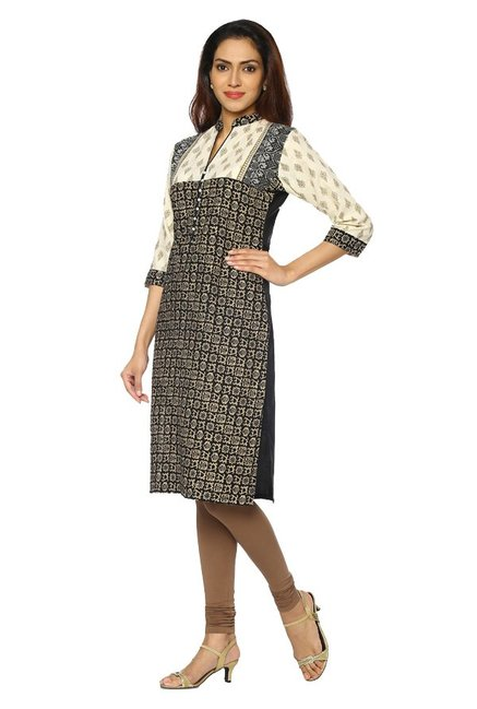 Soch Black & Beige Printed Cotton Kurta