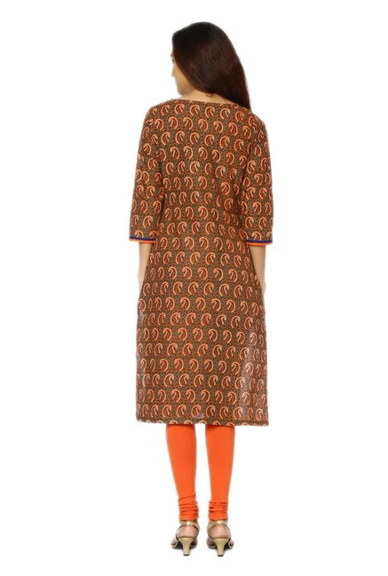 Soch Grey & Orange Paisley Print Cotton Kurta