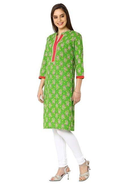 Soch Green Floral Print Cotton Kurta