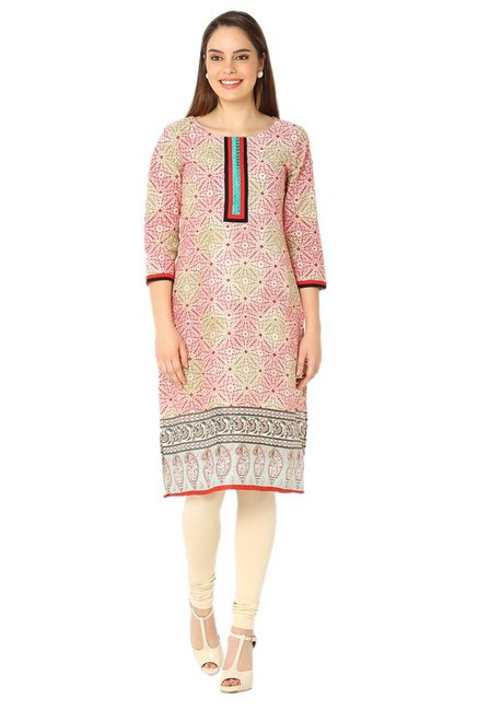 Soch Red & Beige Printed Cotton Kurta
