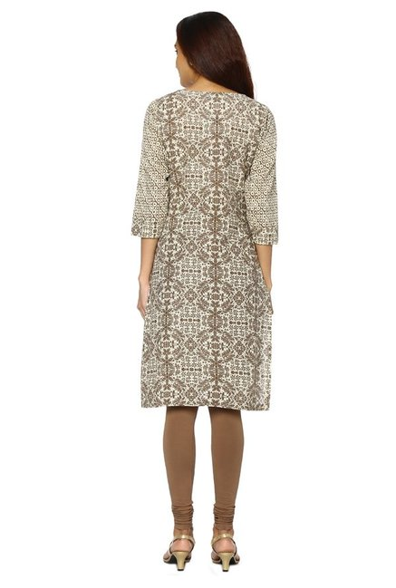 Soch Brown & Cream Printed Cotton Kurta