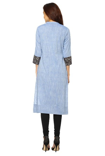 Soch Blue Textured Cotton Kurta