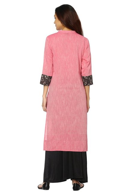 Soch Pink Textured Cotton Kurta