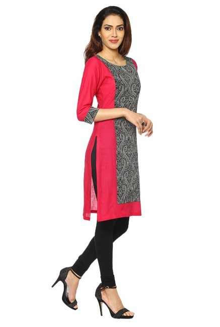 Soch Black & Pink Printed Cotton Kurta