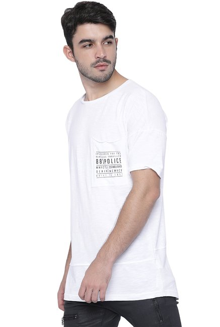 883 Police White Slim Fit Cotton T-Shirt