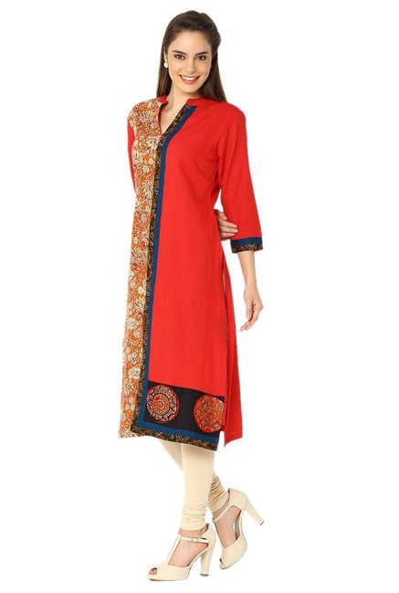 Soch Red & Orange Printed Cotton Kurta