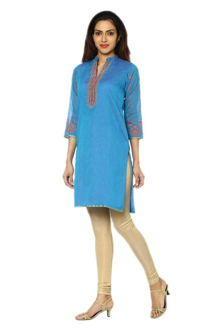 Soch Blue Embroidered Art Silk Kurti