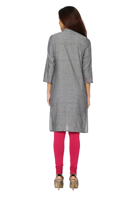 Soch Grey Embroidered Cotton Kurti
