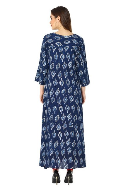 Soch Navy & Red Printed Rayon Kurta