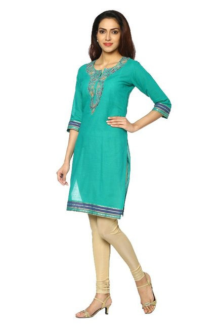 Soch Green Embroidered Cotton Kurti