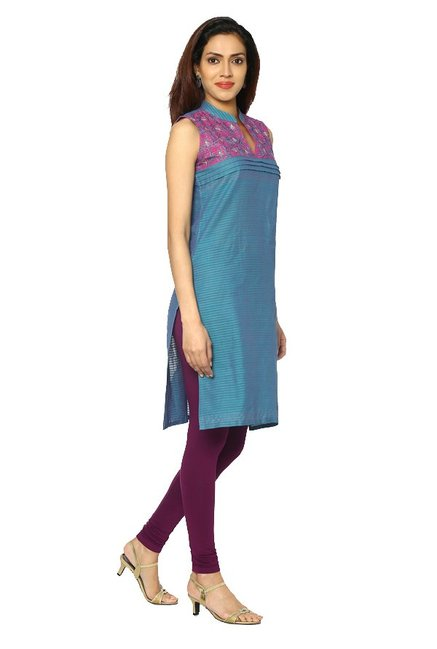 Soch Teal Embroidered Cotton Kurta