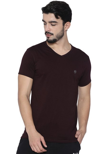 883 Police Maroon V Neck Cotton T-Shirt