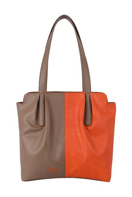 Baggit Showoff Orange Light Brown Color Block Shoulder Bag