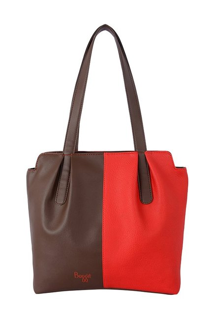 Baggit Showoff Red & Brown Color Block Shoulder Bag
