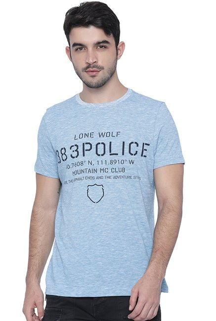 883 Police Sky Blue Printed T-Shirt