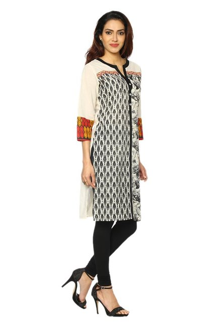 Soch Cream Printed Cotton Kurta
