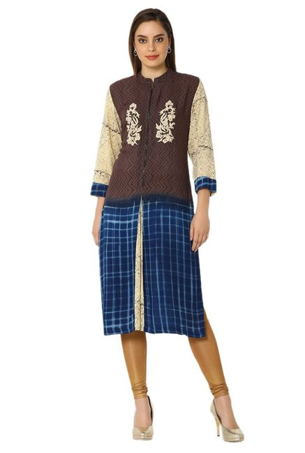 Soch Brown & Navy Printed Rayon Kurta