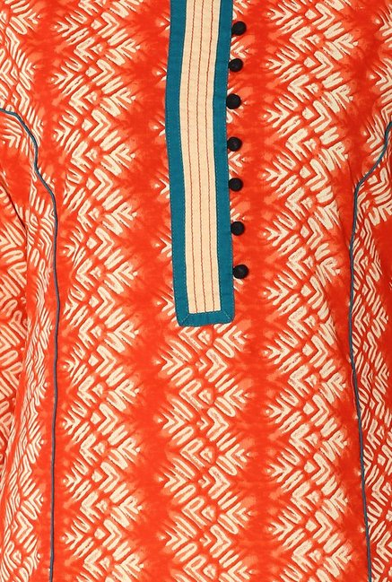 Soch Orange Printed Cotton Kurta