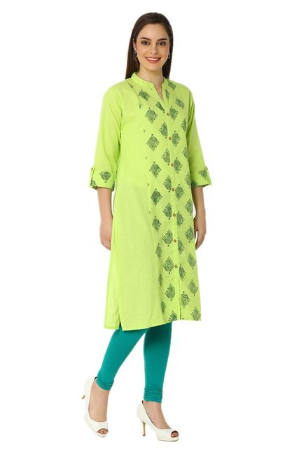 Soch Lime Printed Cotton Kurta