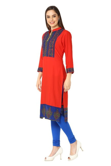 Soch Red Printed Synthetic Kurta