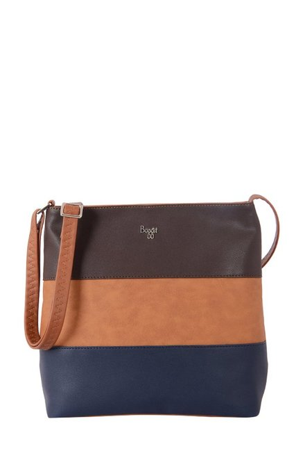 Baggit Sweet Tan & Navy Striped Sling Bag