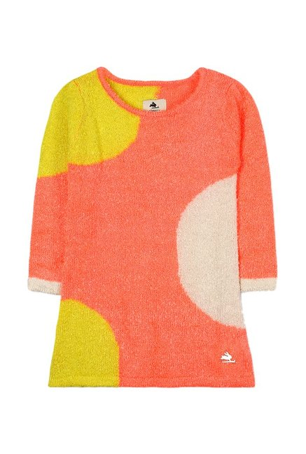 6ad797871ccb Buy Cherry Crumble California Orange Sweater Dress for Girls Clothing  Online   Tata CLiQ