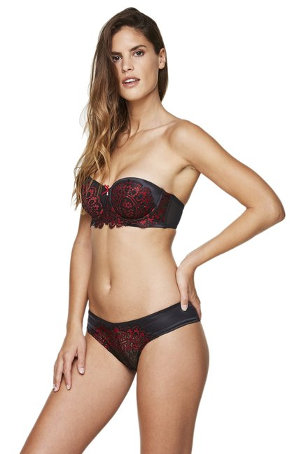 Hunkemoller Caviar & Red Under Wired Melinda Convertible Bra