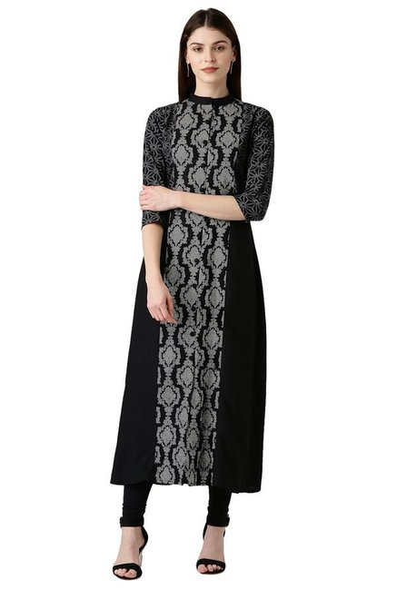 Libas Black Printed Cotton A-Line Kurta