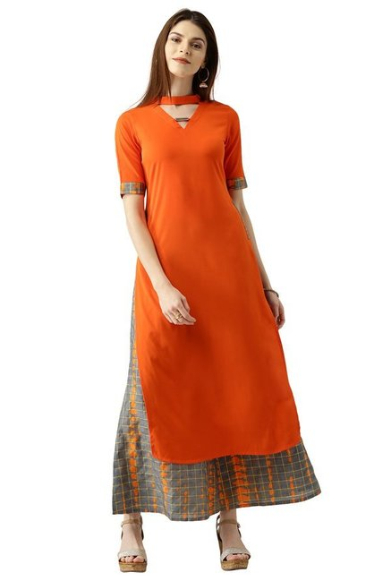 15a492a0826 Buy Libas Orange   Grey Polyester Kurta With Palazzo for Women Online    Tata CLiQ
