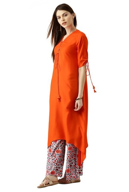 Libas Orange & Off White Rayon Kurta With Palazzo