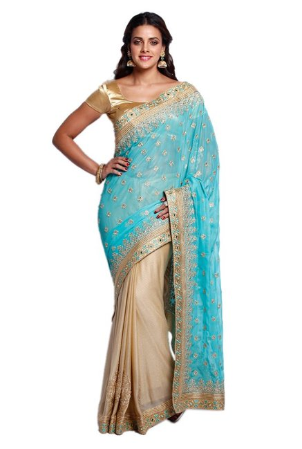 Soch Beige & Blue Embroidered Georgette Half & Half Saree