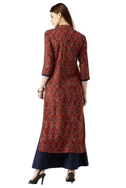 Libas Brown Printed Rayon Kurta With Palazzo