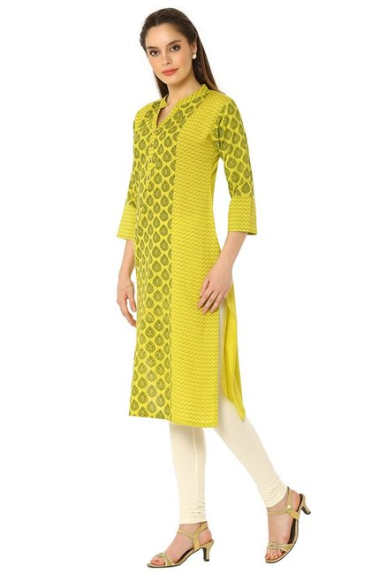 Soch Yellow & Green Printed Cotton Kurta