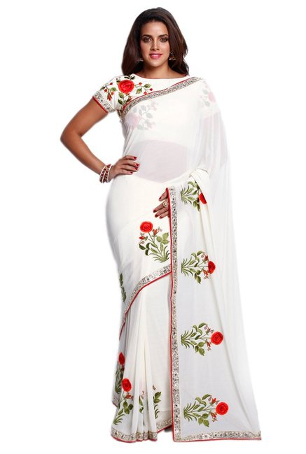 Soch Off White Embroidered Georgette Saree