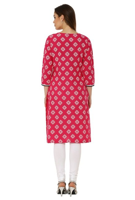 Soch Light Pink Printed Cotton Kurta
