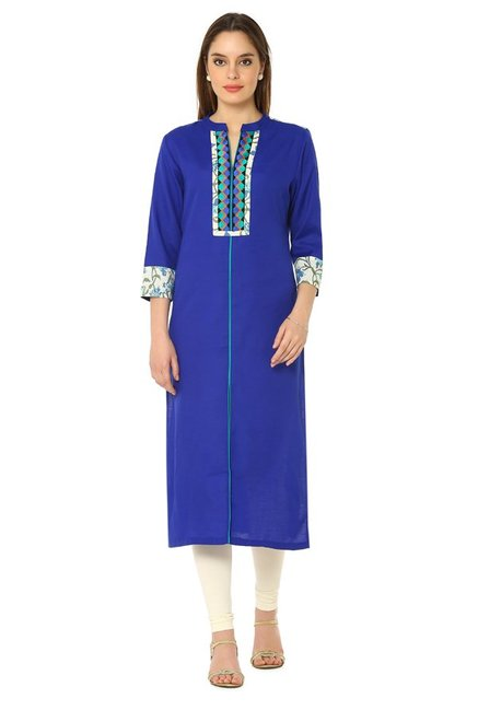 Soch Royal Blue Embroidered Linen Kurta
