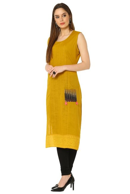 Soch Mustard Textured Cotton Kurta