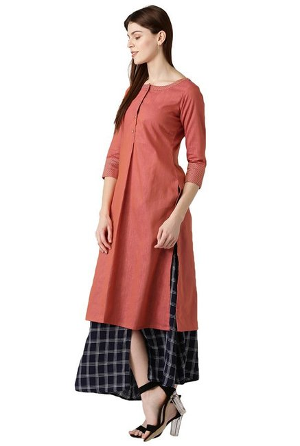 Libas Rust Textured Cotton A-Line Kurta