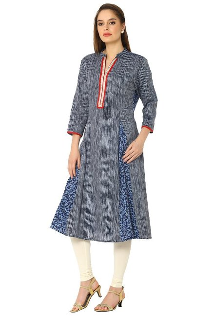 Soch Navy Printed Cotton Anarkali Kurta