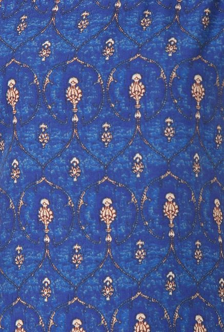 Soch Royal Blue Printed Rayon Kurta