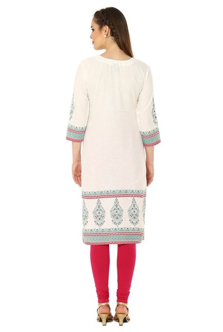 Soch Cream & Green Printed Cotton Kurta