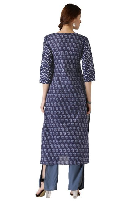 Libas Navy Printed Cotton Straight Kurta
