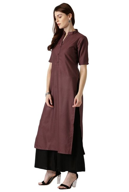 Libas Maroon Striped Polyester A-Line Kurta
