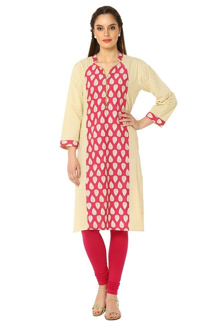 Soch Dark Pink & Beige Printed Cotton Kurta