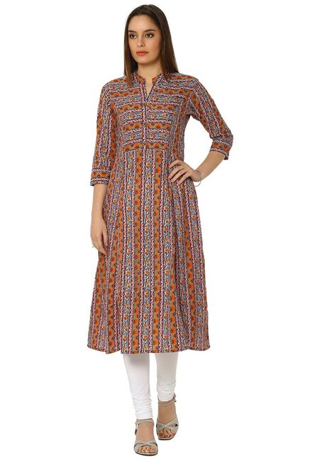 Soch Grey & Orange Printed Cotton Anarkali Kurta